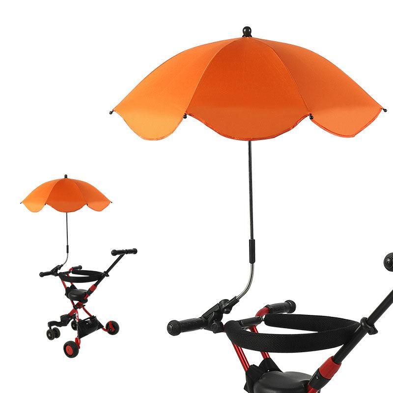 Kinderwagen Regenschirm Massivfarbe Durable Wasserdichte Taste Sonnenschirme Clip-Taste Sunshade-Legierungsfedern 14ly P2