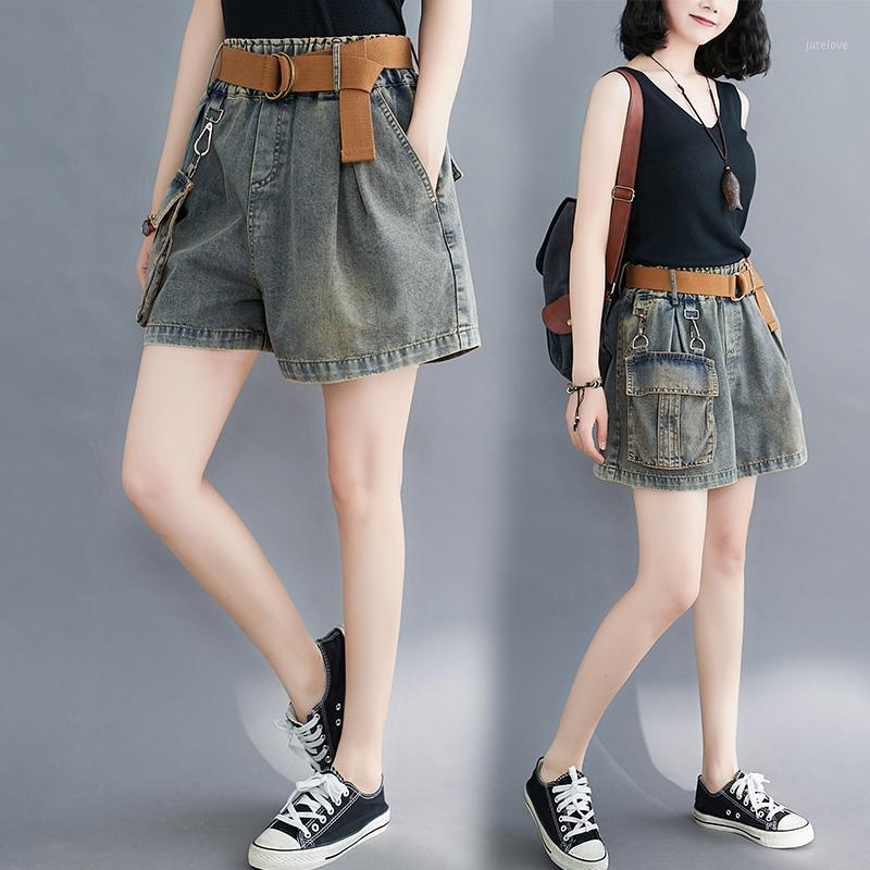 Femmes Denim Shorts Summer Mode Été Taille élastique avec des poches de ceinture A-Line Wide Jambe Bureau Dame Casual Casual Loose Overdized Jean Shorts1