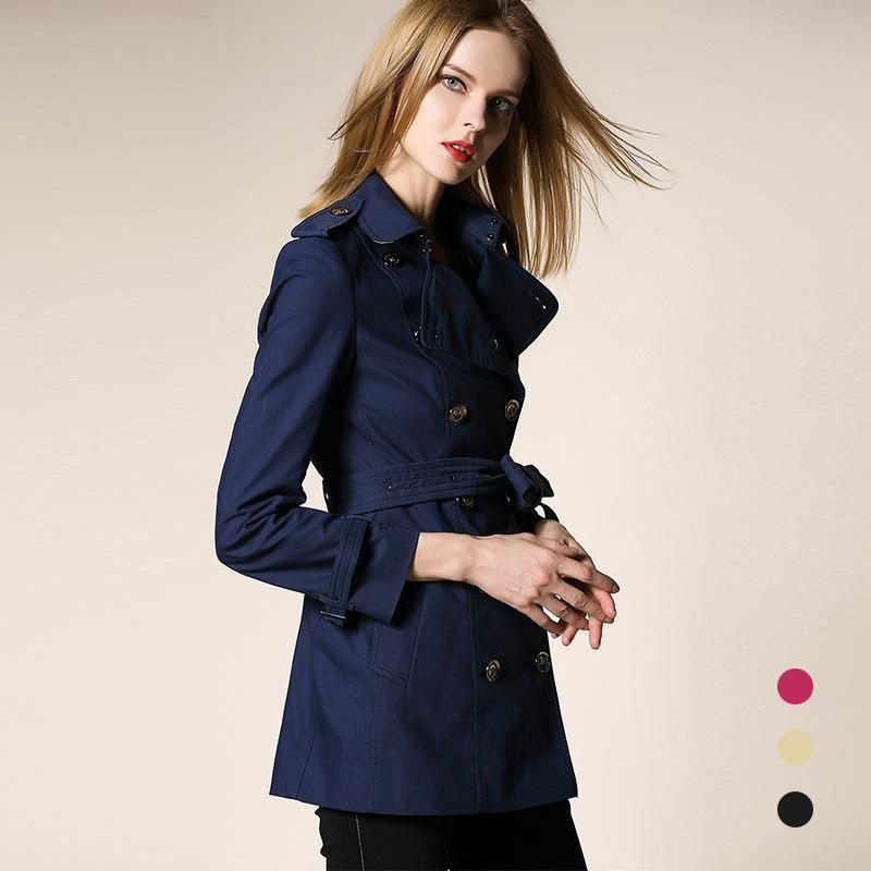 2020 Primavera Outono Roupas Sólida Cor Senhora Longo Dobro Dupla Breasted Mulheres Slim Trench Coat