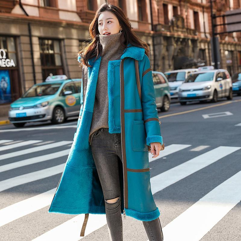 New Winter Fashion Donne Donne Ladies Manica Lunga Addensare Caldo Zippers di alta qualità Casual Wool Wool Blends Cappotto in pelle reale CY616