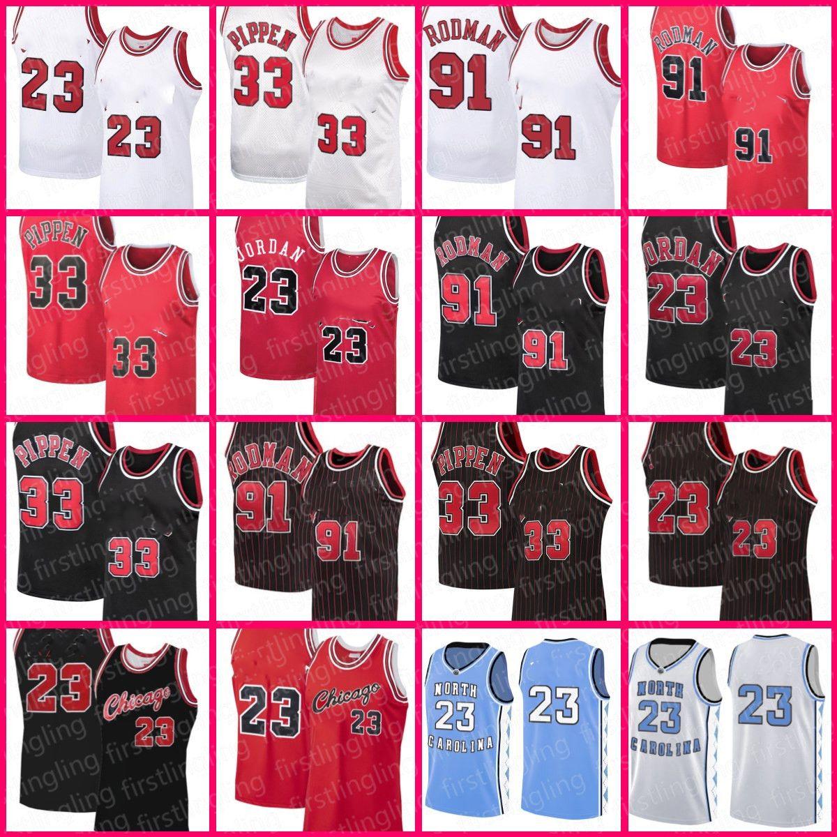 23 Чикагос Джерси 33 Скотти Pippen Трикотажные трикотажные Деннис Родман Зач 8 Лавин Ретро Баскетбол Мужская MJ Красный Черный Белый Размер S-XXL Северная Каролина