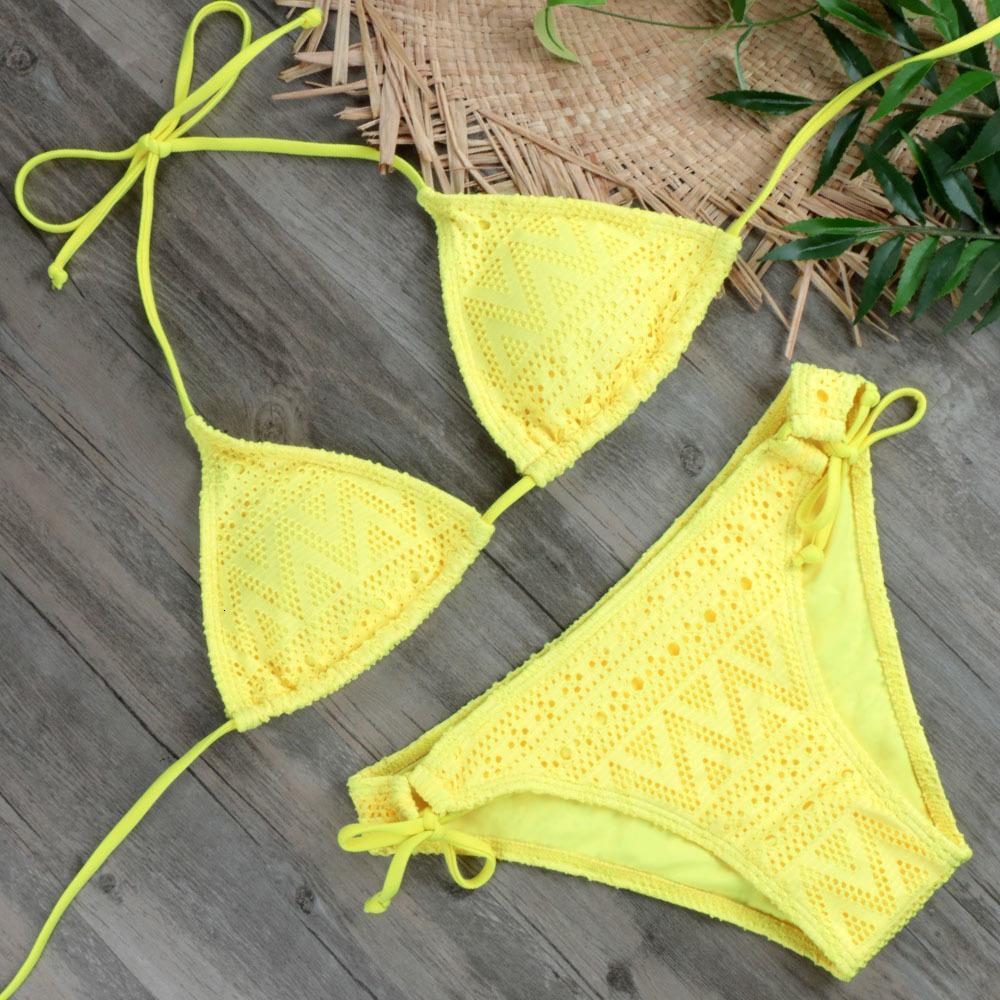2020 Ragazze Sexy Set Lace Swimwear giallo spinge verso l'alto il costume da bagno Monokini Femminile Beachwear Micro bikini brasiliano costume da bagno