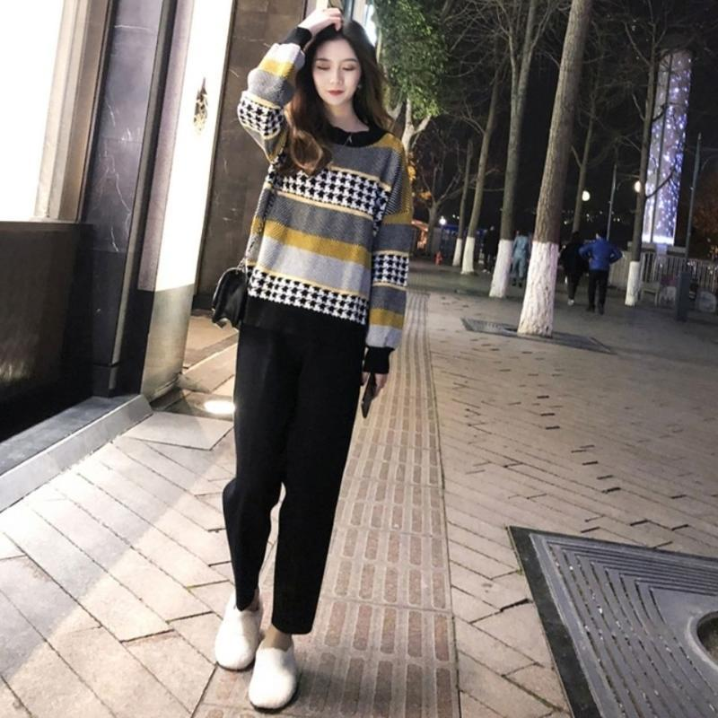Pullover frauen herbst und winter neue joker koreanische farbe passende faule wind tragen lose student pullover runde hals pullover