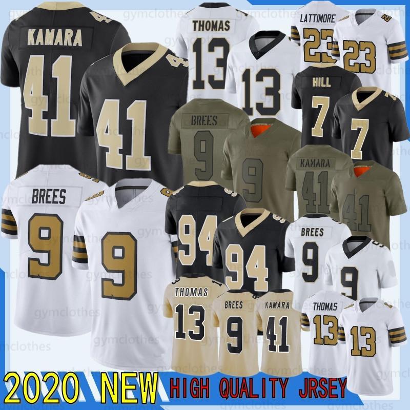 9 Drew Brees New Jersey 41 Alvin Kamara 13 Michael Thomas 7 Taysom Hill 23 Marshon Lattrimore 94 Cameron 88 Dez 2020 Novos Jersyes de Futebol