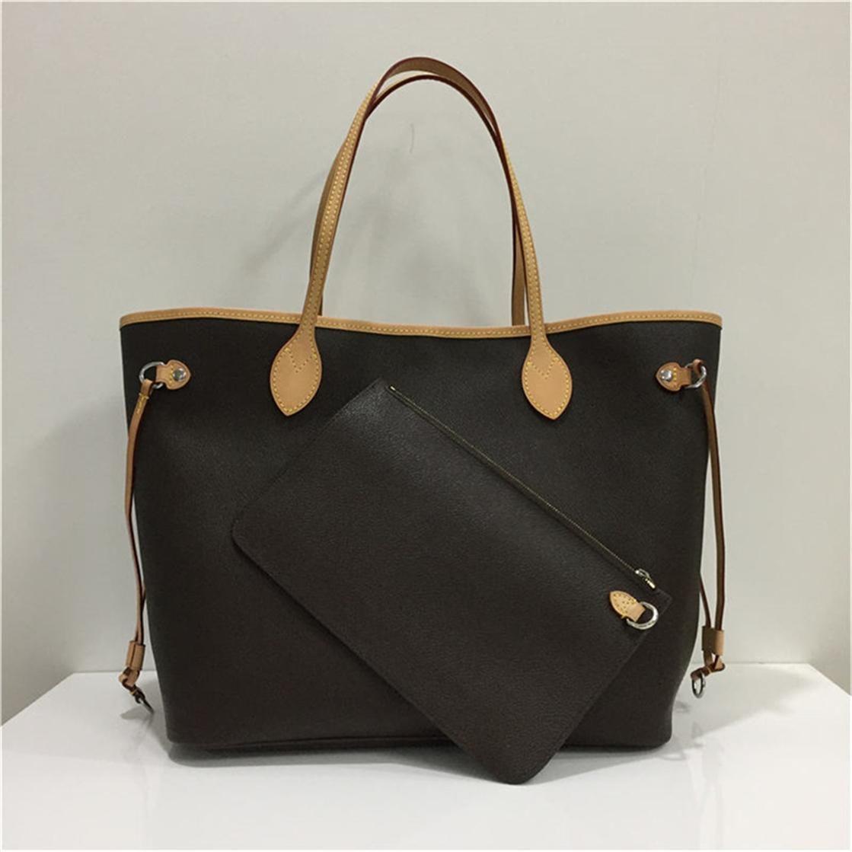 Luxurys Designer Handbags Lady Genuine Cuero Bolsa con letras Bolsos de moda Lady Brown Bolsos de cuero Embrague Bolsa de asas Monederos con carteras
