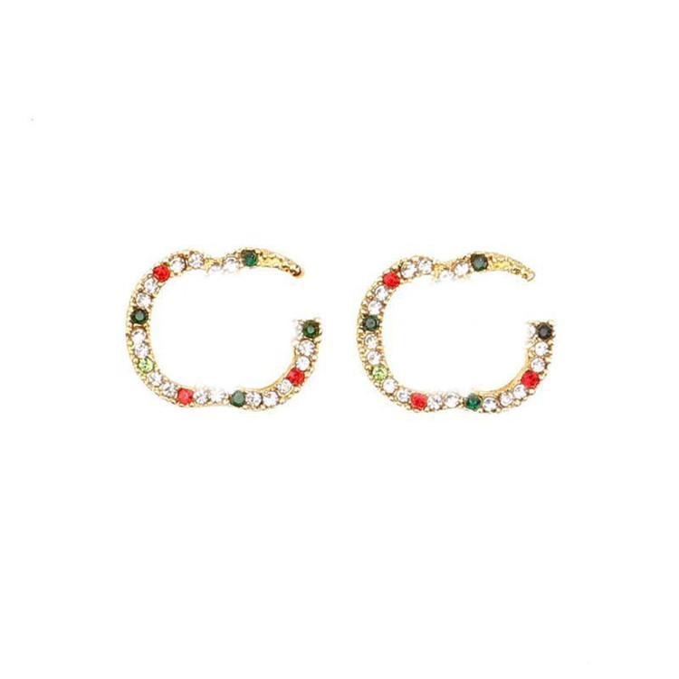 لامعة الماس الأبجدية أقراط العلامة التجارية رسائل مصمم أقراط ترصيع الأزياء رسائل أقراط النساء القرط مجوهرات اكسسوارات