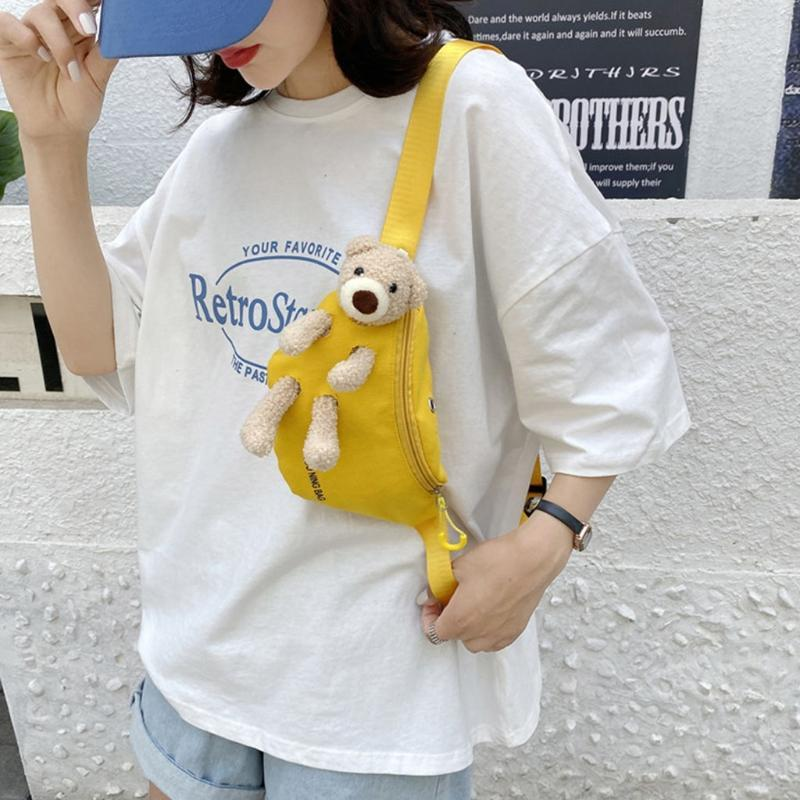 Lindo oso de lienzo Bolsa de pecho salvaje Trendy All-Match Messenger Mujeres Casual Daily