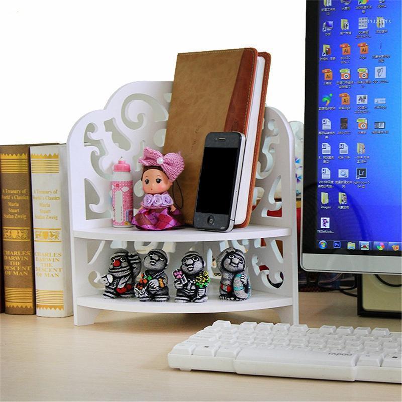 DIY Multi-Function Desktop Двойная древесина пластиковая платка для хранения стойки офисные полки Ools Holder Организатор Cosmeticos Rack1