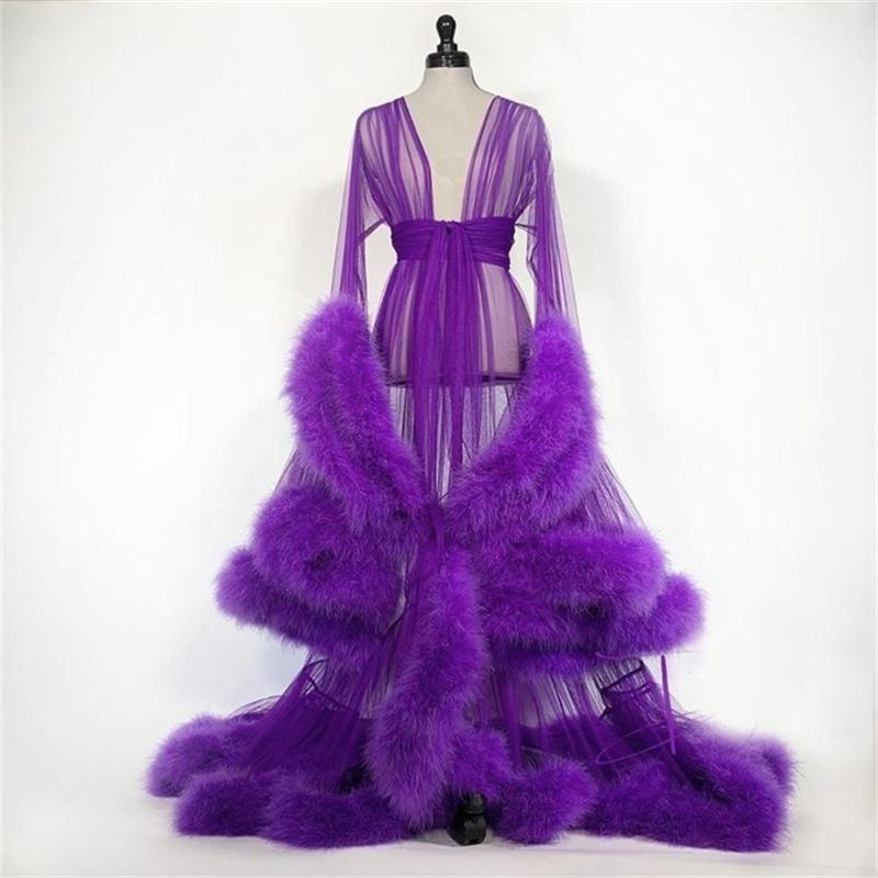 Personalice las túnicas de camisón de pluma nupcial TRANSPARENTE TULLE LADY SLEEPWEET CHAQUETAS LARGA DESPUERTAS DESPUERTAS Vestidos de vestir bridal después del vestido de fiesta