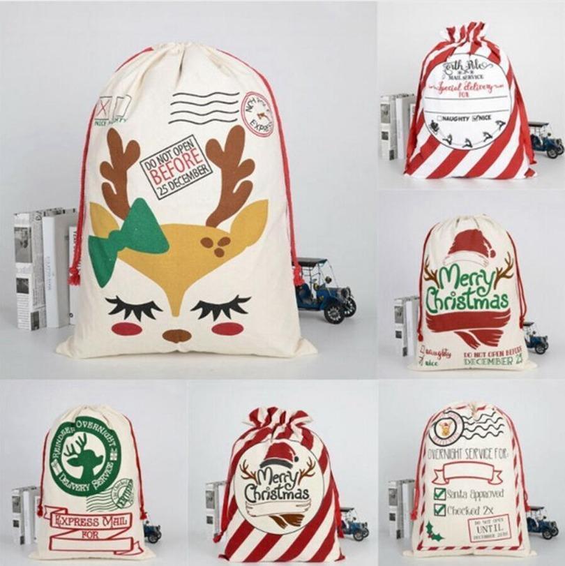 Noël Santa Santa Sacs Toile Sacs de coton Grands Sacs-cadeaux de cordon lourds Personnalisé Festival Fête Décoration de Noël EWE2870