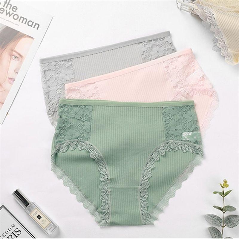 3pcs Hot Sale Cotton Comfot Seamless High Waist Women's Panties Solid Lace Briefs Underwear Sexy Plus Size Underpants