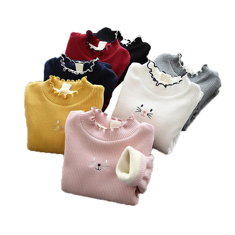 Autumn Girls Plush Sweater Children Clothing Girls Candy Color Knitted Warm Sweater Kids Cartoon Cat Outerwear Pullover F1203