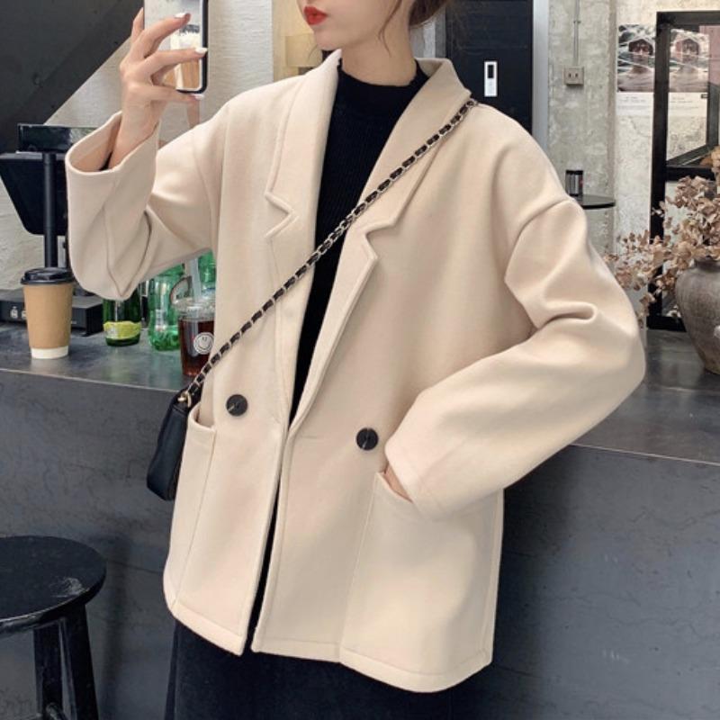 Осенью и зима 2021 Новый корейский стиль ленивый ветер свободный отворотный костюм шерстяной куртка женская все-матч с длинными рукавами шерстяное пальто