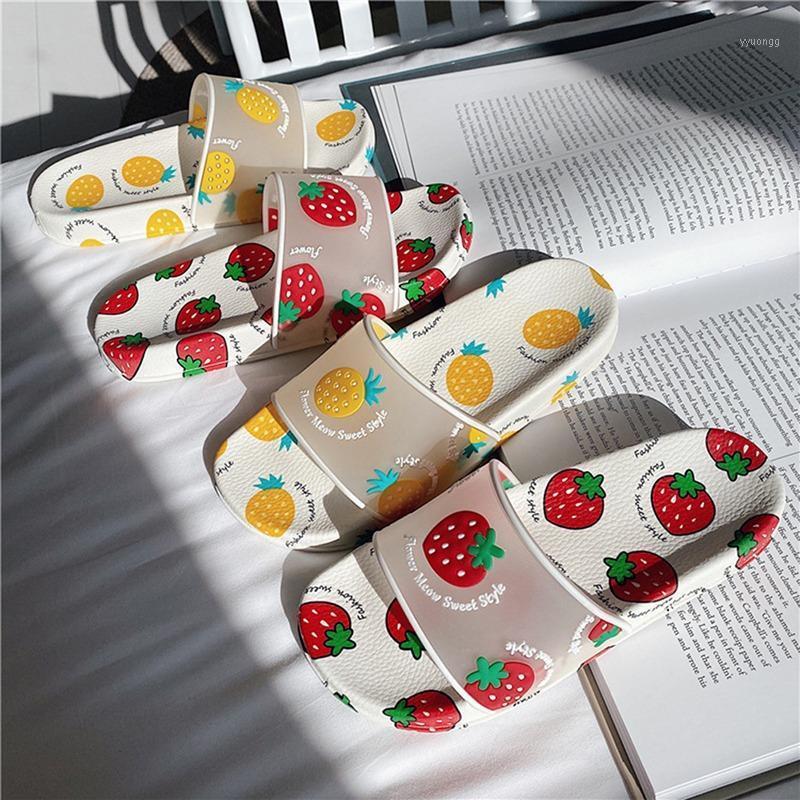Chinelos de Verão Mulheres Slides Kawaii Sapatos Dos Desenhos Animados Morango Morango Abacaxi Peach Menina Flip Flops Sandálias Sandálias Slides1