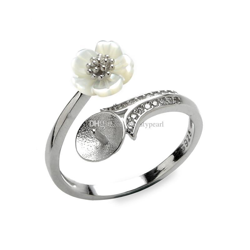 Bague de fleurs blanche Bague vierge Paramètres de bijoux de perles de perles Semi Mount 925 Sterling Argent 5 pièces