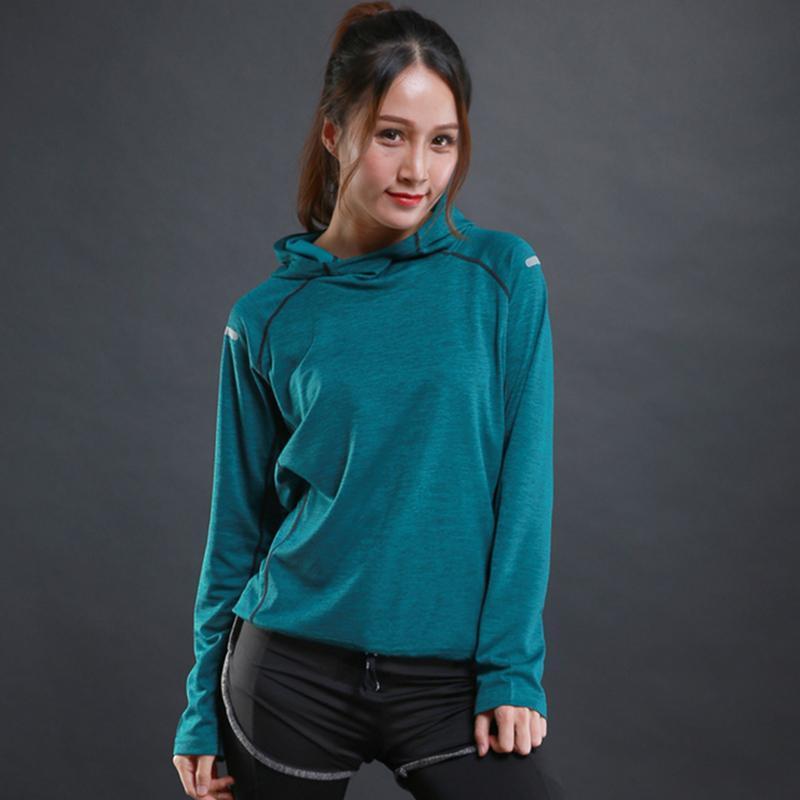 Herbst dünne Frauen laufen t-shirts Fitnessstudio Fitness lange Ärmel Sweatshirts Schnelltraining Atmungsaktive Hood Sport Yoga Kleidung