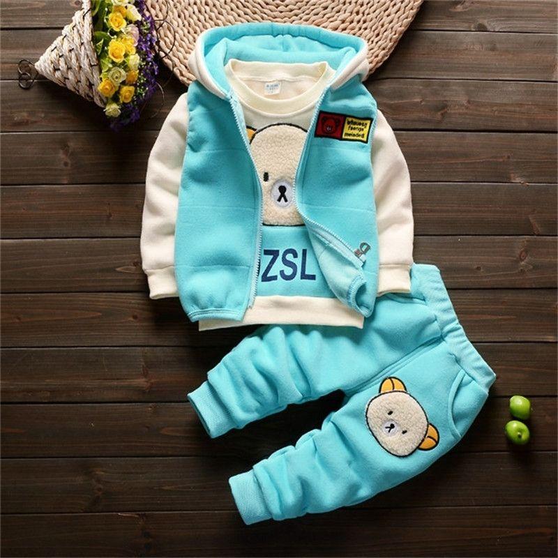 Erkek bebek giysileri sonbahar ve kış kalınlaşmış sıcak takım elbise bebek kız karikatür piggy kapşonlu kazak üç parçalı rahat bebek giyim LJ201223