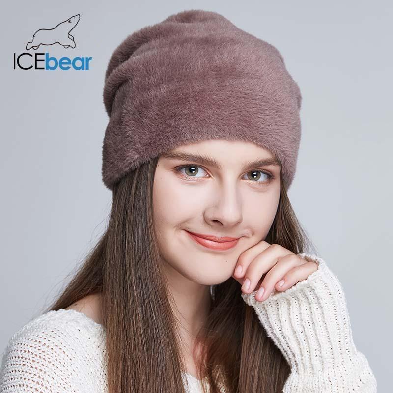 IceBear Женские шапки для зимы Подражать Шерсть Толстые Колпачки для женских Сплошные цвета Новый бренд черепов Шапочки E-MX18119