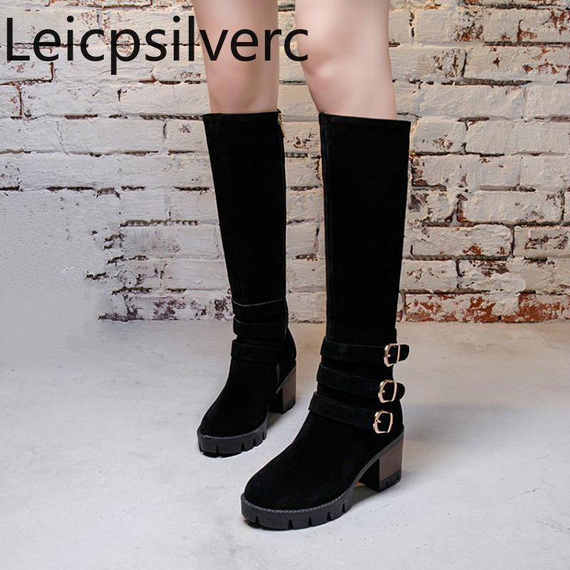 Bottes pour femmes Automne et hiver La nouvelle tête ronde Zipper Talon épais Heel Heel High Tube High Tube Chaussures Femmes Plus Taille 34-43 6.5cm High1
