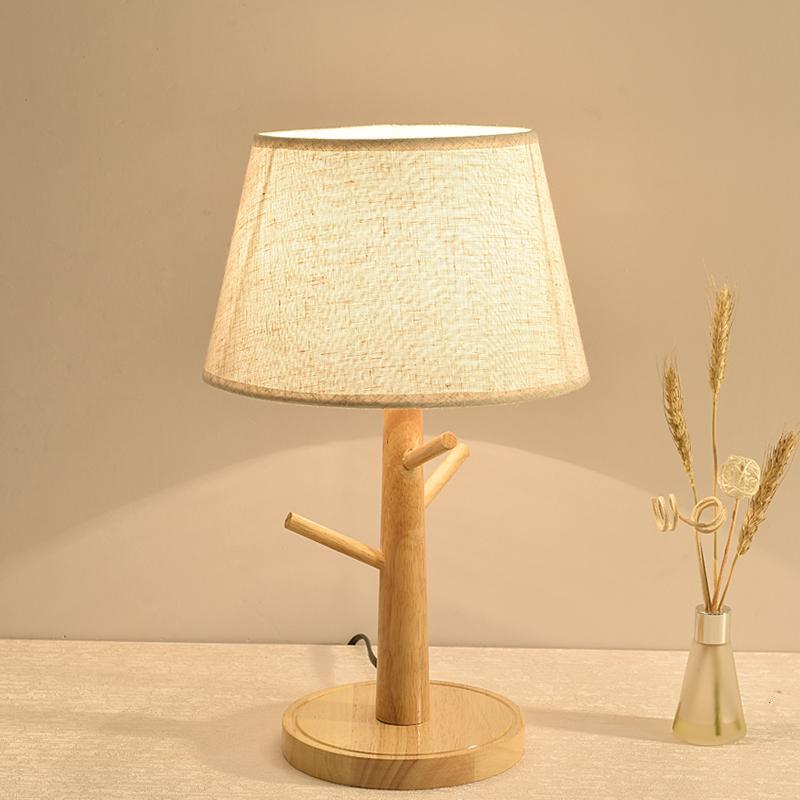 Doğal Ahşap Bez Abajur Masa Lambası Yatak Odası Başucu E27 LED Ayakta Işık Oturma Odası Çalışma Masa Aydınlatma R2KV