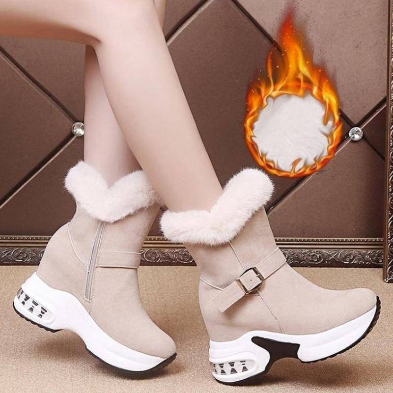 부츠 여성 겨울 모피 모피 플랫폼 스노우 헤이트 증가하는 발목 두꺼운 따뜻한 여성 신발 운동화 숙녀 부츠