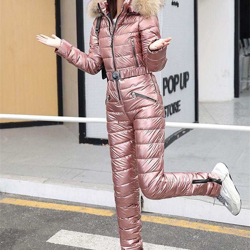 Один кусок лыжный костюм Женщины Зимний Мех с капюшоном Комбинезон Хлопок Мягкие Парки Комбинезоны Молния Комбинезон Сцепление Куртка Брюки