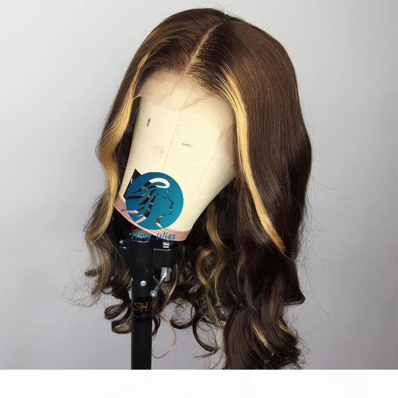 Peluca de encaje lleno de color marrón con peluca de pelo humano destacado Miel rubia marrón pre arrollada pelucas naturales del pelo de Remy para mujeres negras
