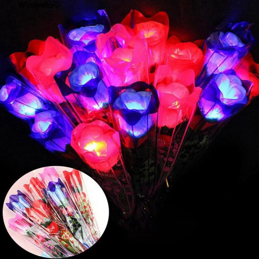 LED Light Up Rose Flower Glowing Valentines Day Wedding Decoration Fake Flowers Party Supplies Decorations simulation rose RRF3616