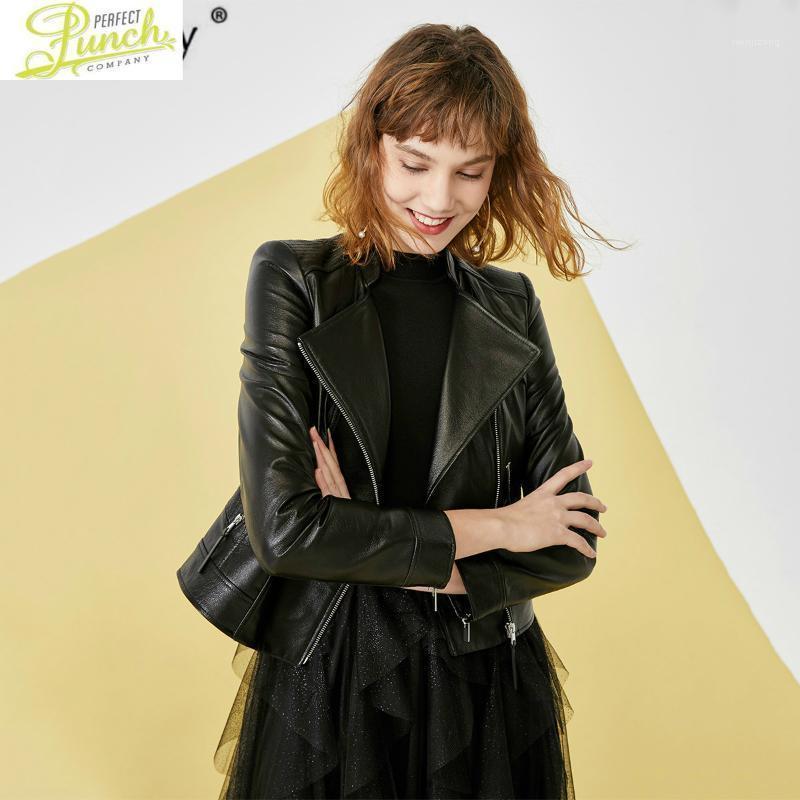 Moto Cuir pour femmes véritables veste véritable peau de porcs court printemps automne nouvelle arrivée Chaqueta Cuero Mujer 4201106011