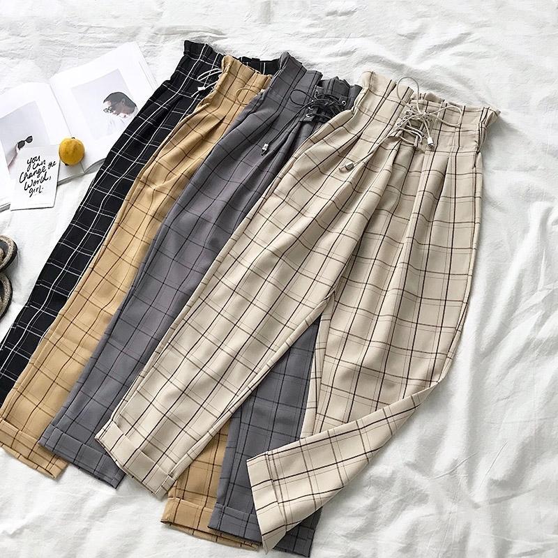Drawstring lacing up cintura calça xadrez mulheres nova primavera outono tornozelo comprimento harém pants pantalon femme y200418