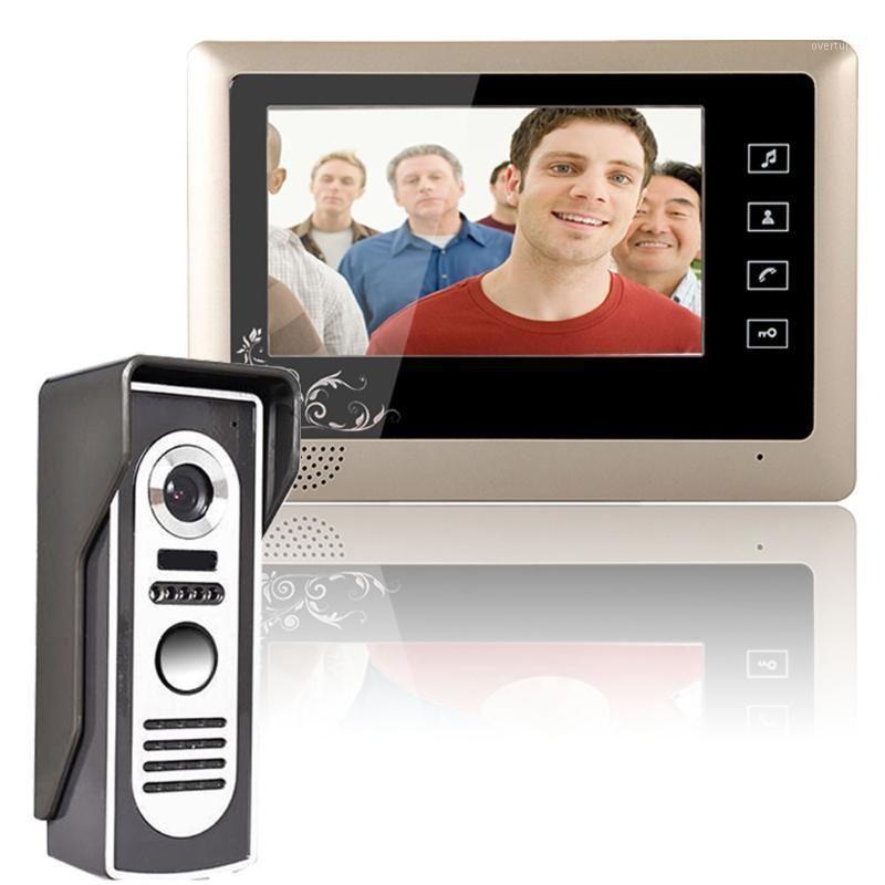 Видео Дверные телефоны 7-дюймовый телефон Дверной звонок Домофон Система 1-камеры 1-монитор Night Vision1