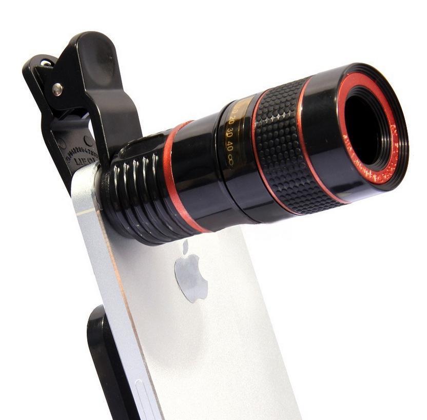 2021 Универсальный 8x Оптический Zoom Смартфон Телескоп Телескоп объектив камеры со съемным клипсовым сотовым телефоном Фотографии аксессуары
