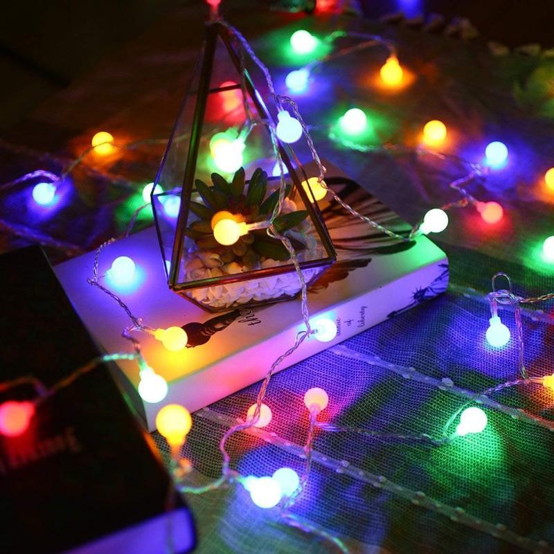 10m 20m 30m 50m 220V fadas guirlanda conduziu a bola de esfera luzes impermeáveis lâmpada decorativa para a decoração da casa do casamento da árvore de Natal