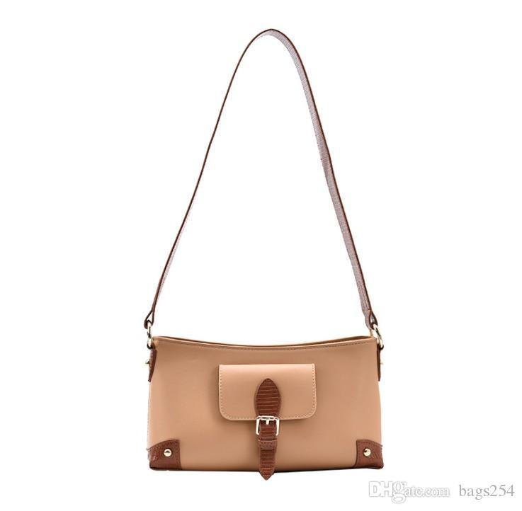 Bolso de hombro Bolsos de cuero de la PU de las mujeres Bolsos de Crossbody Bolsos de la mujer de alta calidad Pequeño bolso de embrague de dos tonos de dos tonos negro marrón