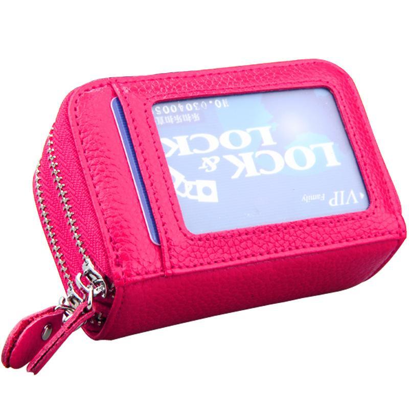 Frauen Geldbörsen Doppel Reißverschluss Echtes Leder Brieftasche Frauen Geldbörse Kleine kurze Kupplung Dame Handy Tasche Brieftasche