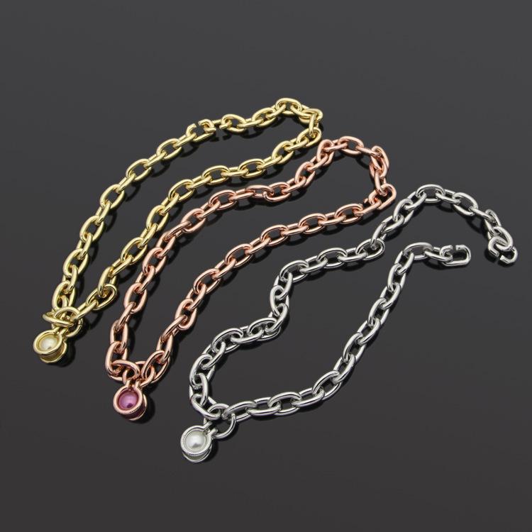 Новая мода Горячая распродажа T Письмо Титановое стальное Ожерелье 18k Золотая роза Серебряная цепь кулон Ожерелье подходит для пара подарков