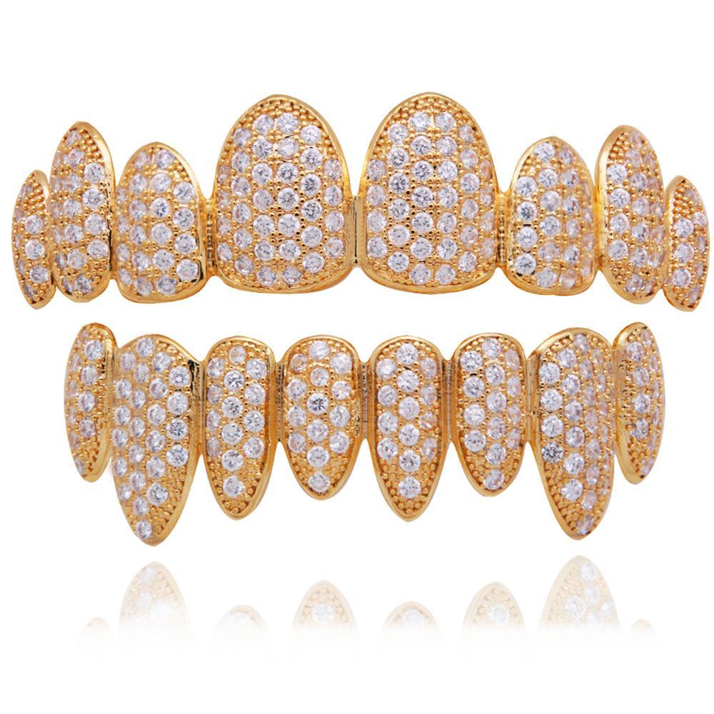 Luxus Echtes Gold Rose Gold Weißgold Vampir Grillz Euro Fang Grills Voll Diamant Cosplay Zahnkappe Dental Mund Zähne Klammer Schmuck