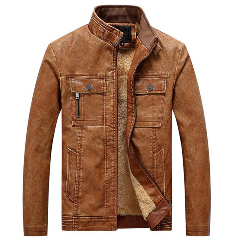Mens Jackets Carrinho de Motocicleta Collar Bolsos Zipper Masculino Pu Coats Biker Faux Leather Moda Moda Outerwear