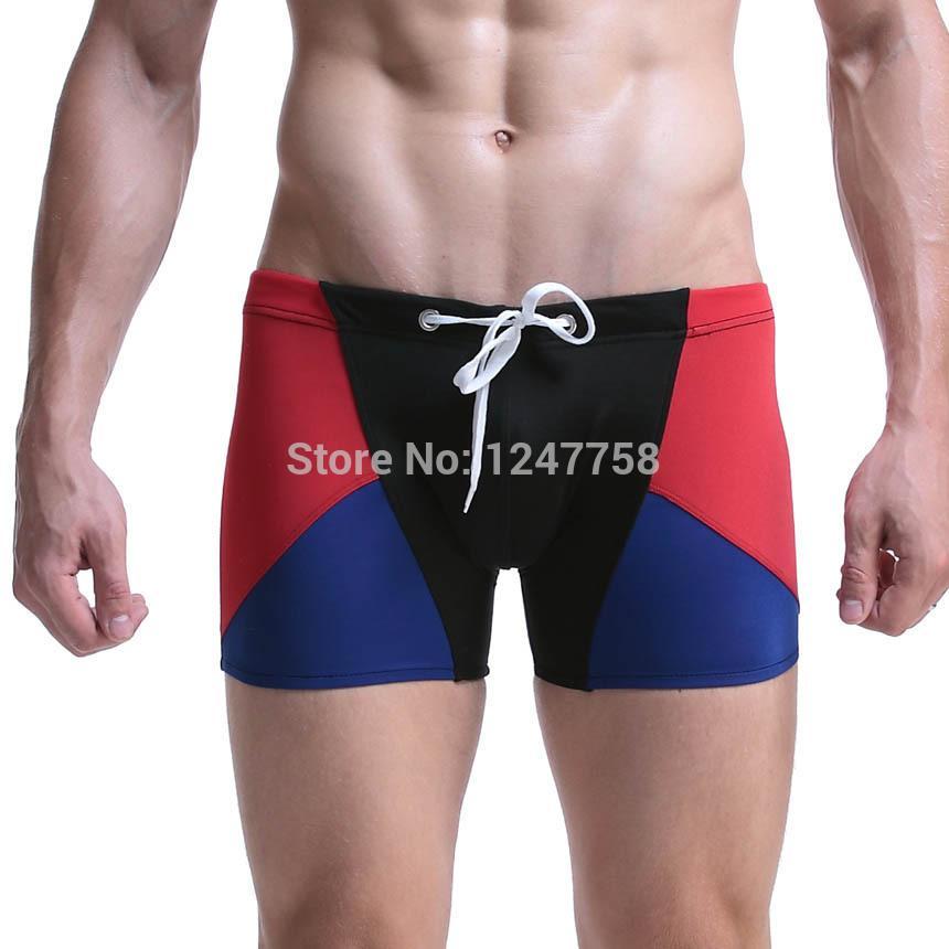 Sunga Hot Swimsuit New Swimwear Men Sexy Swimming Trunks Mens Swim Boxers Beach Shorts Sunga Masculina Patchwork Boxer