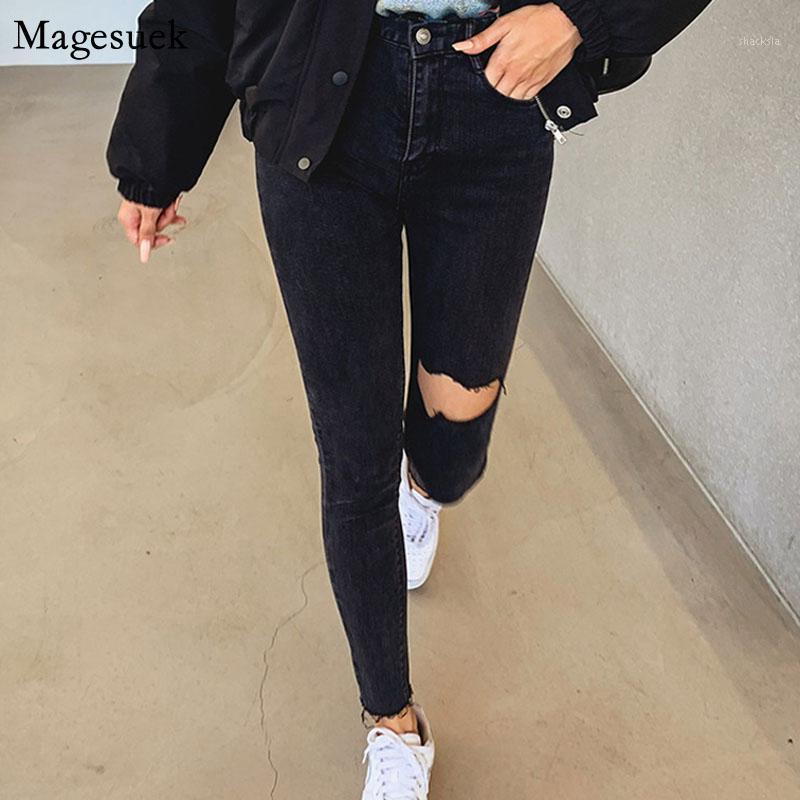 2020 neu für Frauen Black Jeans Hohe Taille Jeans Skinny Quaste Ripping Löcher Weibliche Bleistift Denim Hosen Casual Pantalon 104011