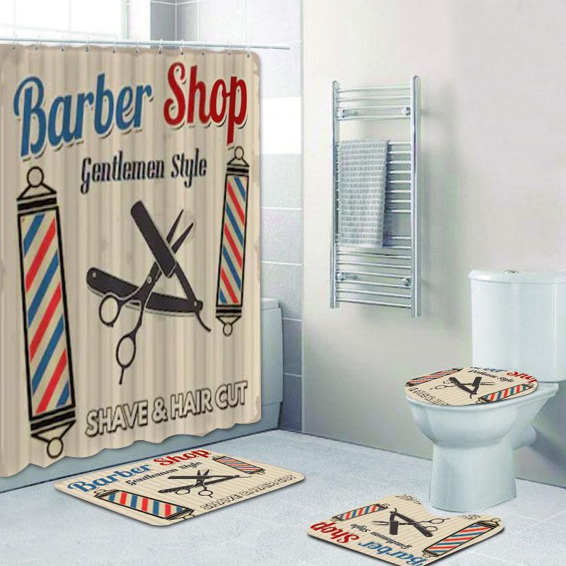 Vintage Barber Shop Curtain Set para Banheiro Barbearia Decoração Banheira Banheira Acessórios Banho Cortinas Tapetes Tapetes Tapetes F1224