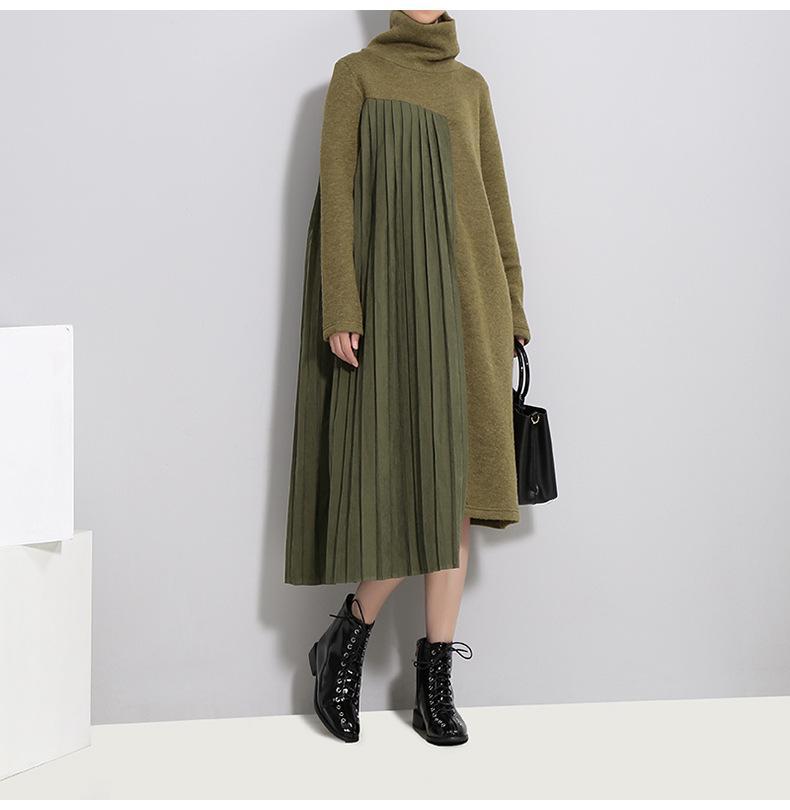 Женское платье мода повседневные платья с высокой шеей вязаная утолщенная юбка для зимой плюс размер