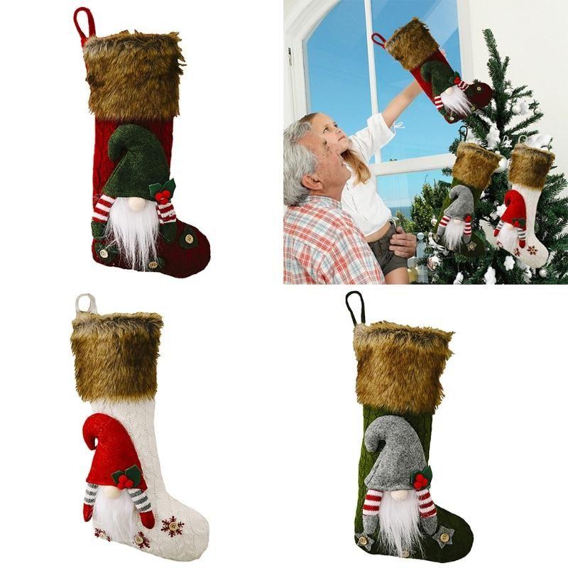 Рождественские чулки милые 3D шведские гнома рождественские носки висит камин дерево украшения подарок конфеты лечить сумку подруга любит