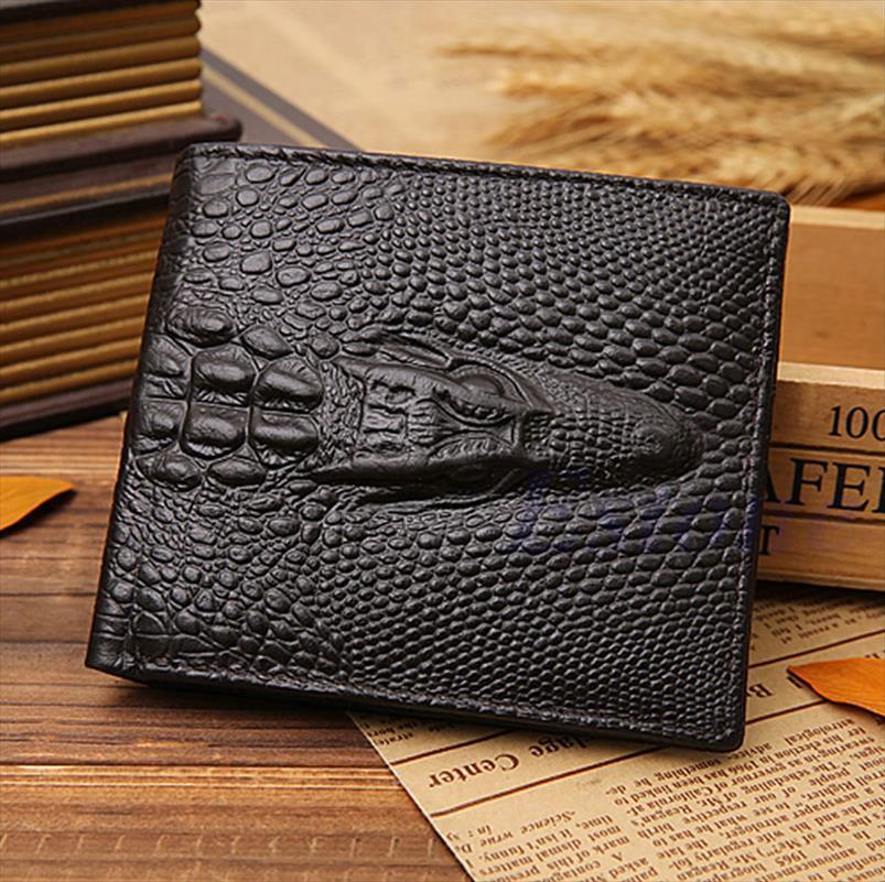 Hot Sale Thinkthendo Leather Card Clutch Credit Fake Wallet Pockets Gator Id Mens Crocodile Bifold Quality Shipping Good Drop Bwmcr