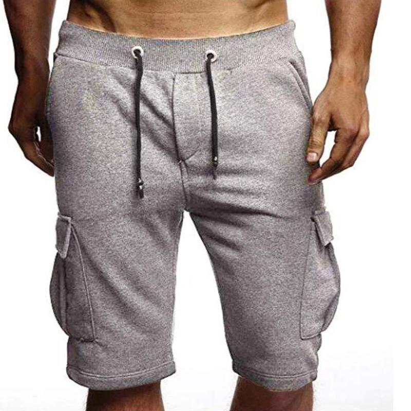 Pantalones cortos para hombres Missky 2021 Hombres Verano Color Sólido Simple Casual Pocket Sports for Beach Ropa masculina