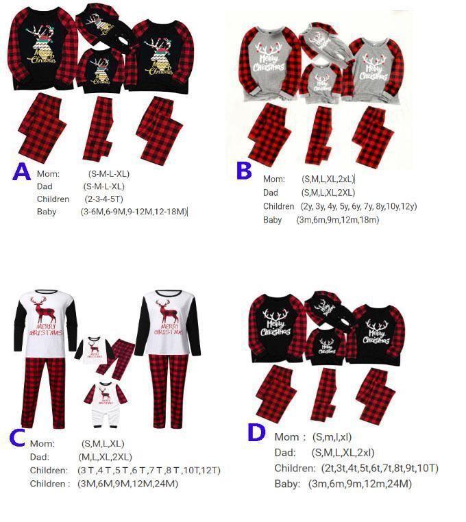 Рождественские наборы пижамы для семейного набора одежды Xmas Sweetwurewurewear Tops и брюки родительские детские наряды родительские рождественские рождественские вечеринки FY9251