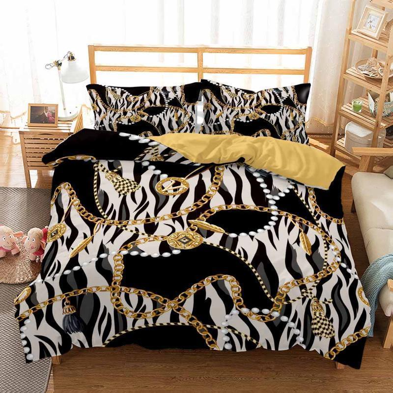 Conjuntos de ropa de cama Juego de estilo vintage barroco 2 / 3pcs Decoración para el hogar Cubierta de edredón Funda de lujo Funda de almohada Twin Queen King Size Set1