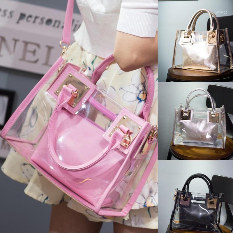cyclamen9 Beach Bag Clear Tote Bag,See Through Messenger Bag Transparent Shoulder for Beach Travel (Pink)1