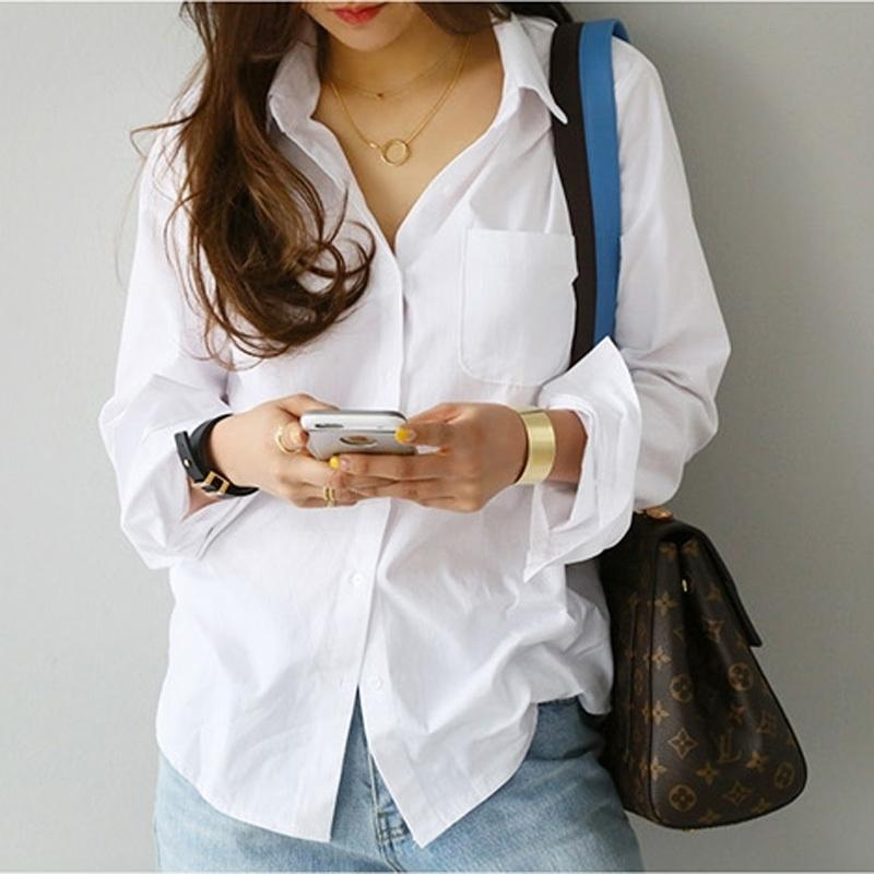 Moda mujer blusas bolsillo coreano casual primavera verano camisa de mujer vintage blanco manga larga camisa damas túnica y200622