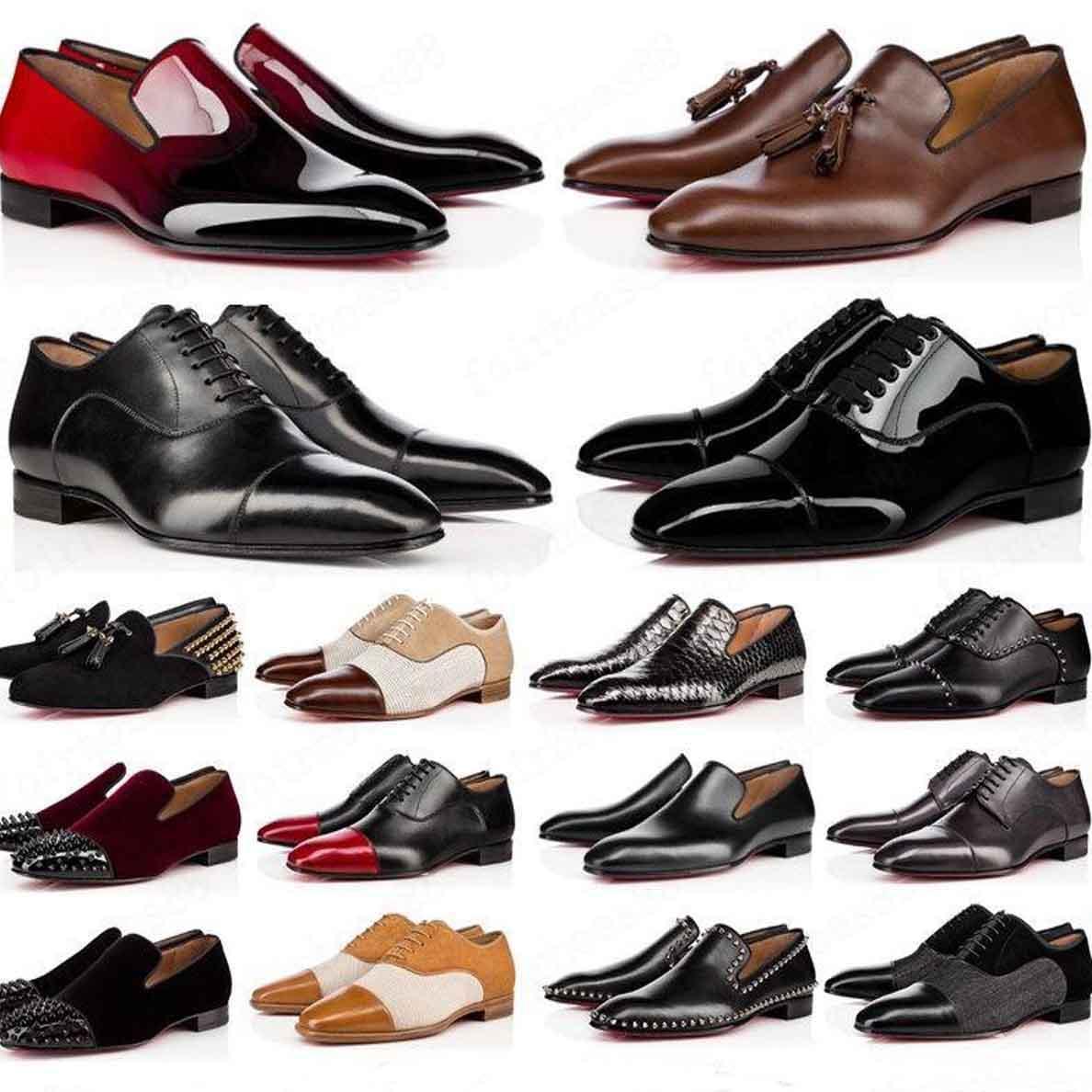 مصممي الفمهات أحذية رجالية أحذية رجالية أحذية حمراء أسفل عارضة أحذية مات باتاء براءات الاختراع الجولة تزلق على المسامير